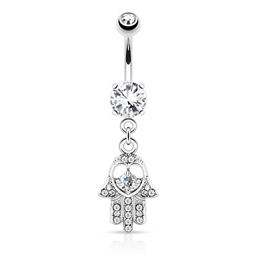 Hamsa Hand with Cz Accents Dangle Belly Button Ring - 316L Surgical Steel 14g Dangle Navel Ring - Choose Clear, Pink, or Aqua (Clear)