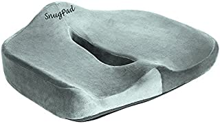 SnugPad Low Orthopedic Memory Foam Cushion for Office Chair Sciatica Tailbone Back Pain Relief Sitting Truck Driver Cars Front Seats Pillow Wheelchair Kitchen Chairswith with No-S, 1 Pack Gray,