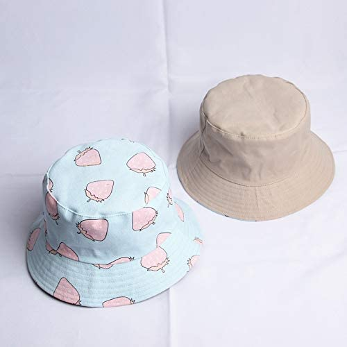 H/A Japanese Dai Xiaoqing New Double-Sided Fisherman hat Strawberry Girl Student Spring Casual Cap Sun Shade Fruit Bowl HUANR (Color : Light Blue, Size : One Size)