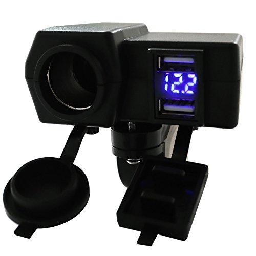 ACBungji Adaptateur Prise Allume Cigare Femelle Chargeur 2 Ports USB Numérique LED Voltmètre Tester Bleu 12V Installation du Guidon Pour Moto ATV UTV Scooter