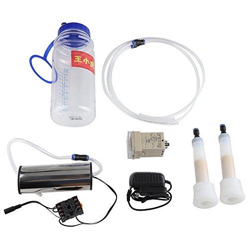 Pssopp Máquina de ordeño eléctrico de 2L Tipo de Impulso de ordeño portátil con Botella y Bomba de presión de vacío para Vacas(Enchufe de la UE)
