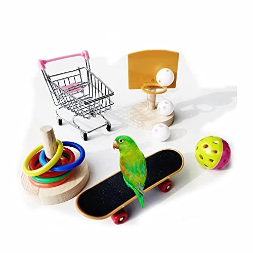 KLMYTCWSD vogelspielzeug wellensittich Spielzeug 5 psc,Mini-Einkaufswagent,Skateboard, Basketballkorb,Trainingsringe,Glocke Spielzeug Parrot Intelligence Spielzeug