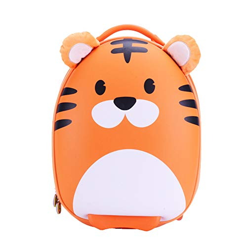 Kids Suitcase Zip Carry On Trolley Hard Shell Cute Tiger Children Luggage with 2 Wheels Retractable Handle Practical Gifts for Girls Boys