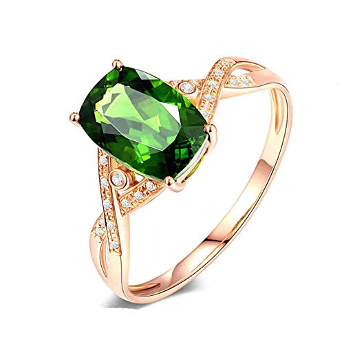 AueDsa Ring Rose Gold 18K Rose Gold Women Ring Infinity Ring with Diopside 0.41ct Ring Size O 1/2