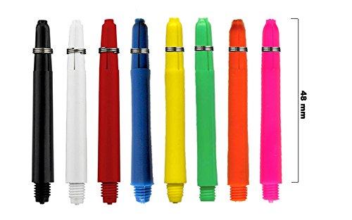 Rocket Grip Dart Schäfte 24 Stück - 8 Farben - Längen XS, S, M (bunt, M 4.8)
