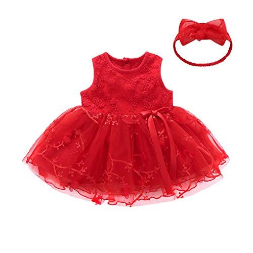 HEETEY HEETEY Mädchen Kleid Rock Outfits Kinder Baby Mädchen Tutu Prinzessin Bowknot ärmellose Blumenkleider Einfarbig Prinzessin Kleid