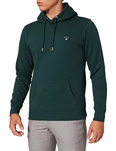 GANT Original Sweat Hoodie Sudadera con Capucha, Tartán Green, XL para Hombre