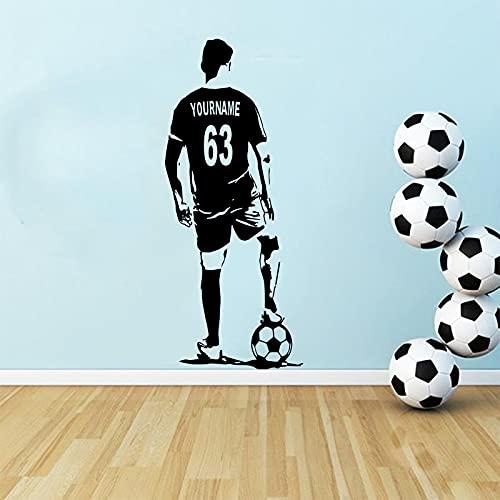 Arte de la pared de fútbol calcomanía de fútbol jugador de fútbol decoración de la pared silueta vinilo calcomanías artísticas mural A5 55x130cm