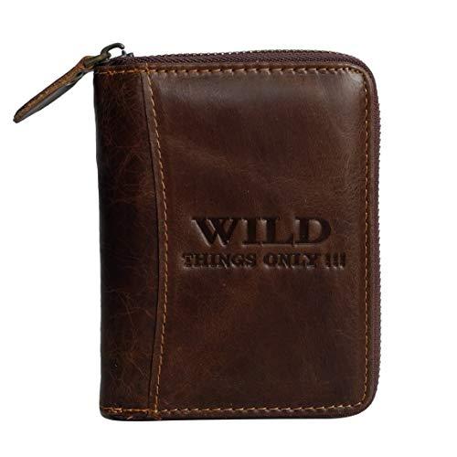 Herren Hochformat Geldbörse von Wild Things Only !!! Herrengeldbörse Geldbeutel Portemonnaie, umlaufender Reißverschluss, Rindleder (Dunkelbraun) - präsentiert von ZMOKA®