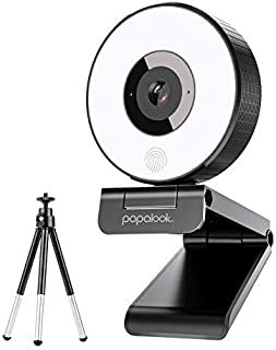 Live Streaming Webcam, PAPALOOK PA552 1080P Gaming StreamCam with Studio-Like Ring Light, Dual Microphones and Tripod for Twitch, Xbox One, OBS
