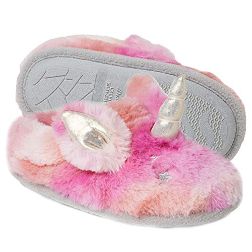 Dearfoams unisex child Clog Slipper, Unicorn, 7-8 Toddler US