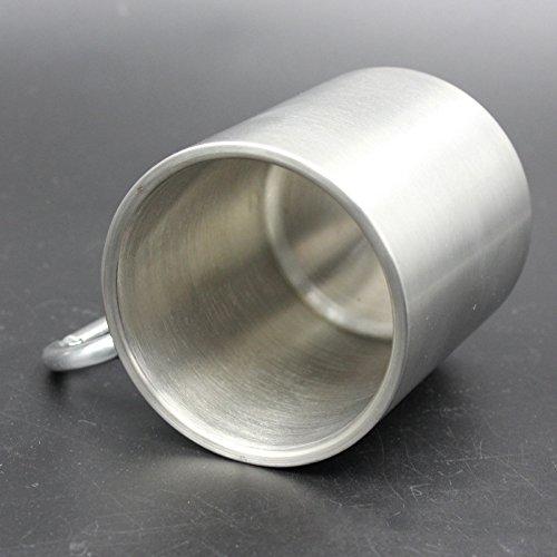 SODIAL Taza de acero inoxidable de 330 ml con mosqueton plegable auto-bloqueo plegable de la manija de la manija de la taza para acampar al aire libre Senderismo