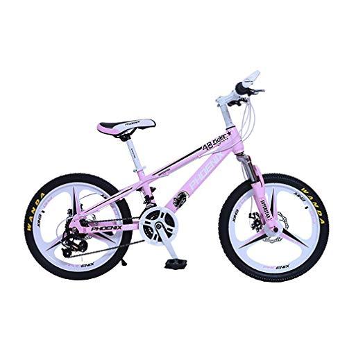 YAOXI 20 Pulgadas Bicicleta De Montaña con Absorción De Choque La Horquilla De Suspensión, Marco Hecho De Acero Al Carbono Engranaje 21 Doble Freno De Disco Bicicleta para Niños,White/Pink