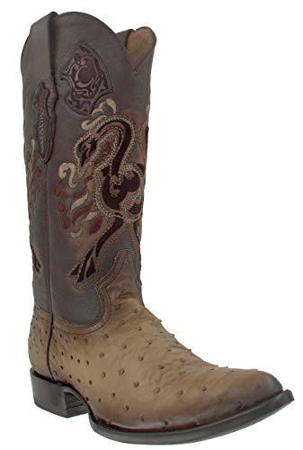 Cuadra Ostrich Leather Cowboy Boots for Men, Size:10, Colour:Flame Orix