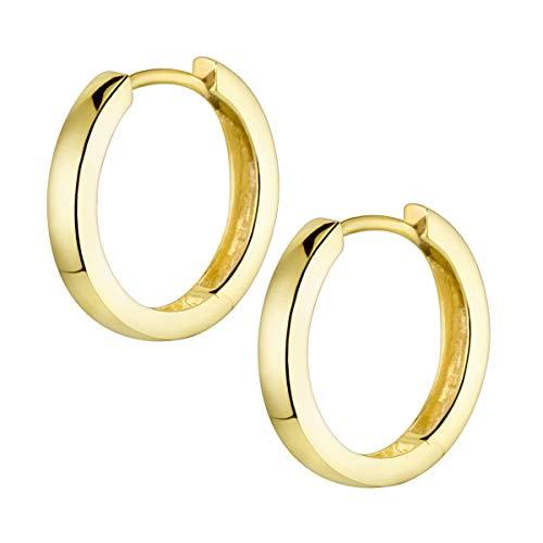 MATERIA Creolen Gold Damen Kinder Ohrringe Silber 925 vergoldet klein 17mm mit Geschenk-Schachtel SO-358-Gold
