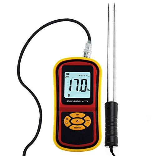 Portable Digital Grain Moisture Meter, Compact Rice Corn Wheat Tester Analyzer- Range 5~30%, Temperature -14~140°Fwith LCD Display, Hygrometer Humidity