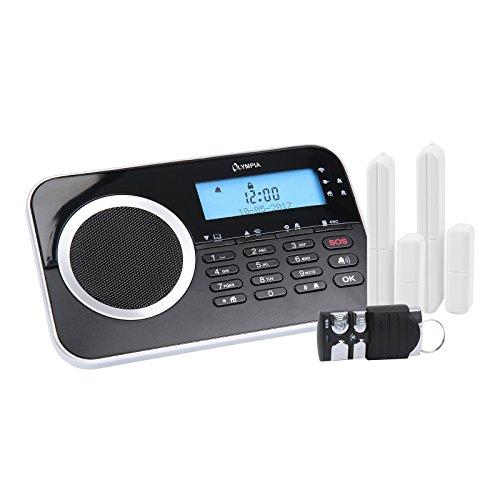 OLYMPIA Protect 9730 das Neue drahtlose GSM Alarmanlagen-Set mit 2 Tür-/Fensterkontakten und Fernbedienung, Schwarz