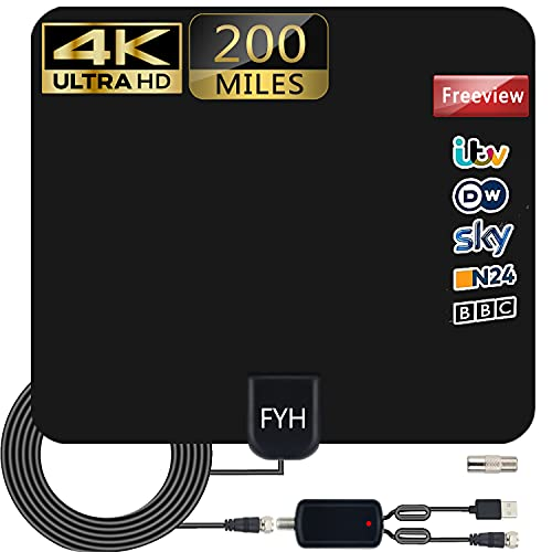 TV Aerial Indoor, Digital HDTV Aerial 200+Mlies Range with Amplifier Signal Booster 4K 1080P HD VHF UHF Freeview TV for Life Local Channels Broadcast for All Types of Home Smart Television 2021 NEWEST