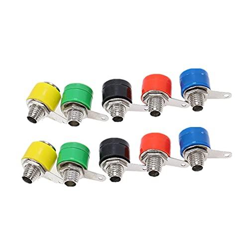 HONGYMY Interruptor 10 unids/Lote 5 Cable de Color Cable de Altavoz de Audio tapón de plátano/Conectores de zócalo 4 mm Adaptador de encuadernación Poste (Color : Socket 5Color)