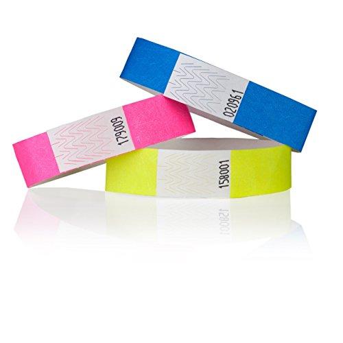 B-Ware 1000 Einlassb/änder aus Tyvek 19mm Zahle 1000 erhalte 2000 Farbe Neon-Gr/ün