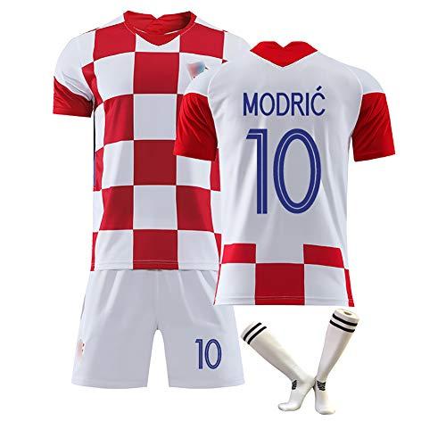 anpassbar 10 Modric 17 Mandzukic Supporters Trikot neues kroatisches Trikot Kinderfußballtrikot Sportkleidung für Erwachsene mit Fußballsocken-10#-M