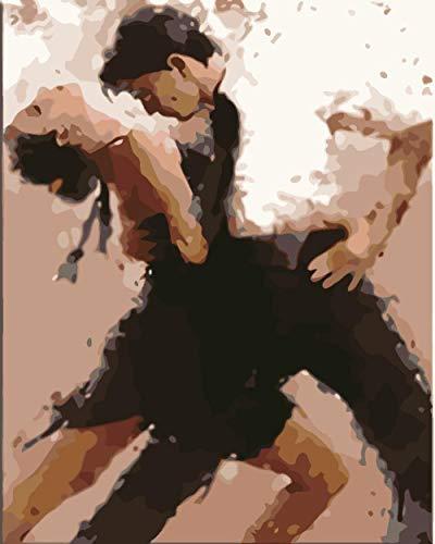 YNKNIT Malen Nach Zahlen Erwachsene Kit Lateinischer Tanz DIY Vorgedruckt Leinwand-Ölgemälde Geschenk für Erwachsene Kinder Malen Nach Zahlen Kits Home Haus Dekor 40x50cm(Ohne Rahmen)