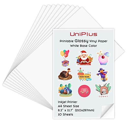 UniPlus A4 Imprimible Pegatinas de Vinilo Autoadhesivo Brillante / Papel de Impresión para Impresoras de Inyección de Tinta, Resistente al Agua, 10 Hojas, 210*297mm, - Bricolaje etiquetas de productos