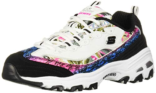 Skechers Sport D'Lites Runway Ready Women's Oxford 8.5 CD US White Snake Floral