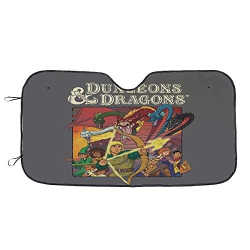 Parasol para Parabrisas Vintage D&D Animated Series Parabrisas de Coche, Bloques de Parasol, Rayos Ultravioleta, Ajuste Universal, Plegable, Reflectante, Parasol de Coche, 51 'X 27,5'