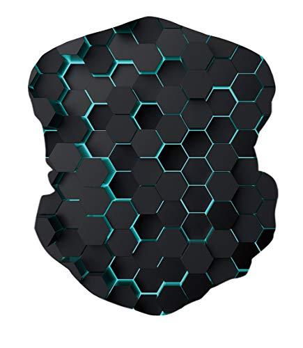 ALISISTER Multifunktionstuch Nahtloses Halstuch Schlauchtuch 3D Geometrie Bedruckte Kopftuch Stirnband Motorrad Bandana Outdoor UV Staubschutz Face Scarf für Staub,Wandern, Reiten, Motorradfahren