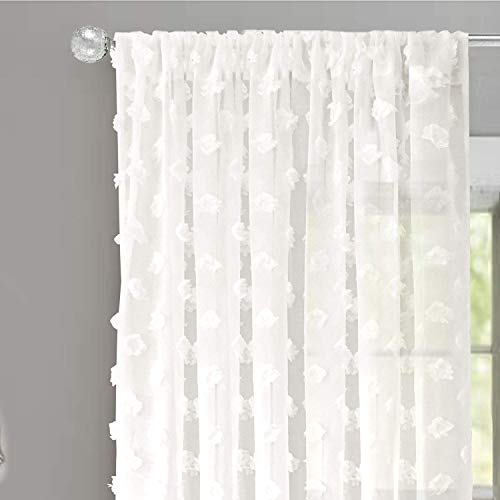 DriftAway Olivia White Voile Chiffon Sheer Window Curtains Embroidered with Pom Pom 2 Panels Rod Pocket 52 Inch by 84 Inch Off White