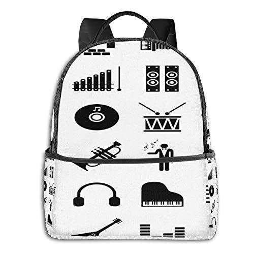 Schulrucksack Schultaschen Mädchen Teenager Rucksack Schultasche Schulrucksäcke wasserdichte Backpack für Damen Herren Geeignet 14 Zoll Notebook Symbol Klaviermusik Piktogramm