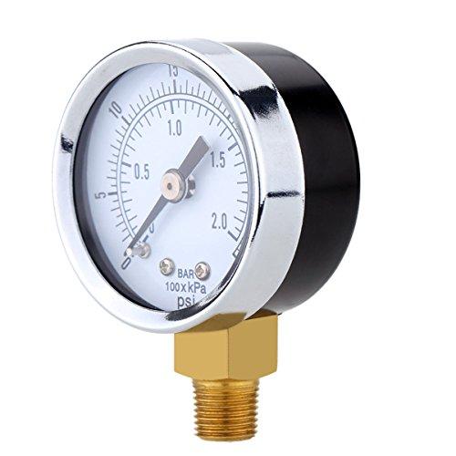 UEETEK Utility Vakuum-Manometer für Luft-Kompressor Wasser Öl Gas 0-30PSI