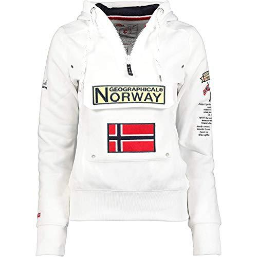 Geographical Norway GYMCLASS Lady – Sudadera para mujer con capucha y bolsillos con forma de canguro – Sudadera para mujer de manga larga – Jersey casual de invierno cálido (blanco, M)