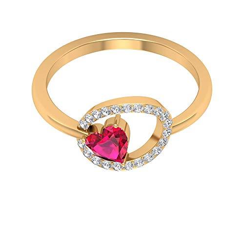 Rosec Jewels 10 quilates oro amarillo corazón round-brilliant-shape H-I Red Diamond Ruby