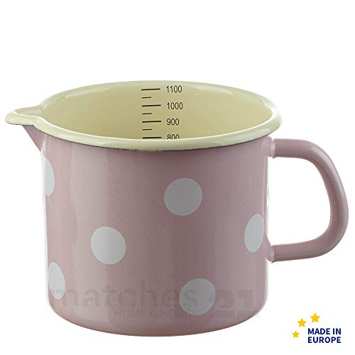 matches21 Kleiner Email Topf Milchtopf rosa gepunktet mit Skala Messbecher Emaille Geschirr je Ø 12 cm / 1000 ml