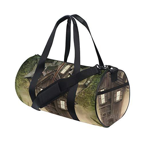 PONIKUCY Sporttasche Reisetasche,Mystisches Fantasie Baum Haus im mysteriösen Wald Windows und im Rauch Kamin Bild,Schultergurt Handgepäck für Übernachtung Reisen
