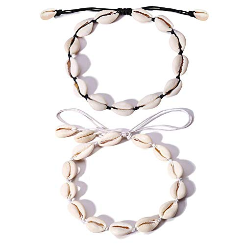 QincLing 2 PCS Shell Necklace Natural Bohemian Style Choker Adjustable Boho Beads Beach Conch Shell Hawaii Cowrie Shells Necklace for Women Girls Lady