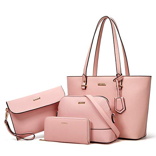 Women Fashion Handbags Tote Bag Shoulder Bag Top Handle Satchel Purse Set 4pcs (Pink)