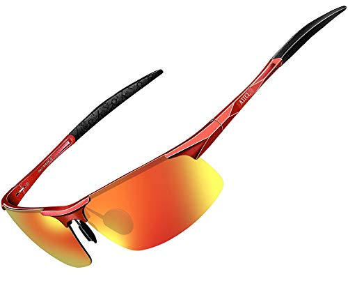 ATTCL Herren Polarisierte Treiber Glasses Sport Sonnenbrille Al-Mg Metallrahme Ultra leicht 8177 Orange-red