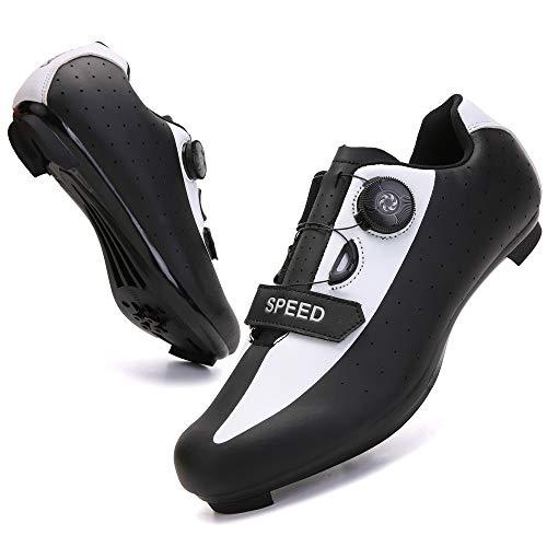 KUXUAN Zapatillas de Ciclismo para Hombre Zapatillas de Bicicleta de Carretera con SPD,Zapatillas Peloton con Hebilla Delta Compatibles,White-11UK=(275mm)=45EU