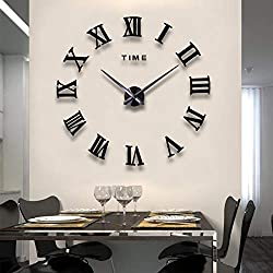 FASHION in THE CITY Mirror Surface 3D DIY Wall Clocks Modern Design Room Decorative Wall Watches (Black)