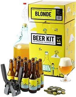 Kit de Brassage Intermédiaire Complet, Je Brasse et j'embouteille 4 litres de bière - Idée Cadeau 100% expérience (Blonde)