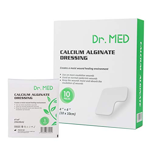 """Dr. Med Calcium Alginate Wound Dressing Gauze, 10 PCS High Absorption Non-Stick Filling Soft and Comfortable Patch (4""""X 4"""")"""