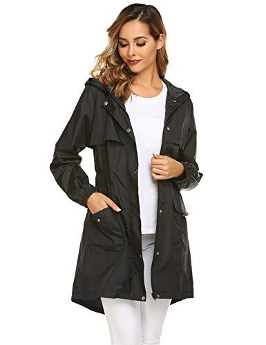 Avoogue Rain Coats for Women Lightweight Hooded Waterproof Active Outdoor Rain Jacket Black