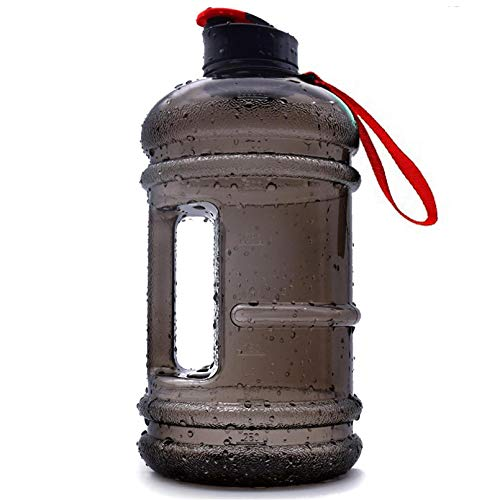 Half Gallon Jug 2.2L Big Gym Water Bottle Men Large Plastic Reusable Sports Water Bottle with Handle Ecofriendly No BPA Leakproof Odorless Wide Mouth Hydro Drinking Container Fitness Outdoor