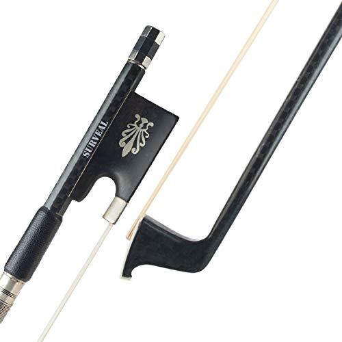 Surveal Arco para violín 4/4 nivel avanzado de fibra de carbono arcos para violín redondo con pelo de caballo mongol, rana de ébano tallada sonido cálido tamaño 4/4 (4/4)
