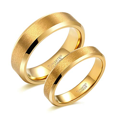Greenpod 4MM 6MM 24K Gold Tungsten Carbide Rings for Couples Matte Finish Beveled Edge Polished Wedding Band Men Women Size 4-13