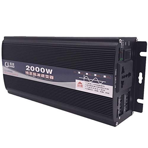 LYHY Inversor de Onda sinusoidal Pura 2000W Inversor de Coche DC 12v / 24v / 48v a AC 220v Convertidor de Voltaje con Pantalla Digital Dual y Enchufe Duradero