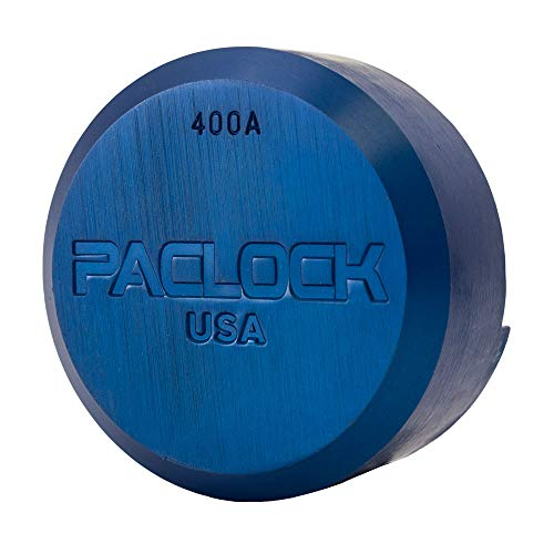 PACLOCK's 400A Series Padlock, Buy America Act Compliant, Stepped Back Puck Lock, Blue Anodized Aluminum, High Security 6-Pin Cylinder, One Lock Keyed to #26541 w/ 2 Keys